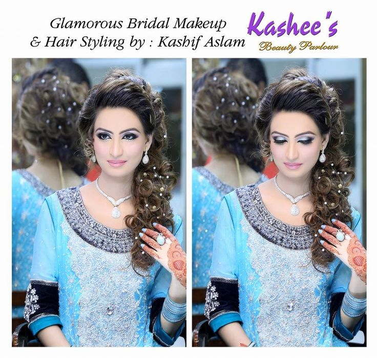Glamorous engagement bridal makeup and hair styling done by kashif Aslam
