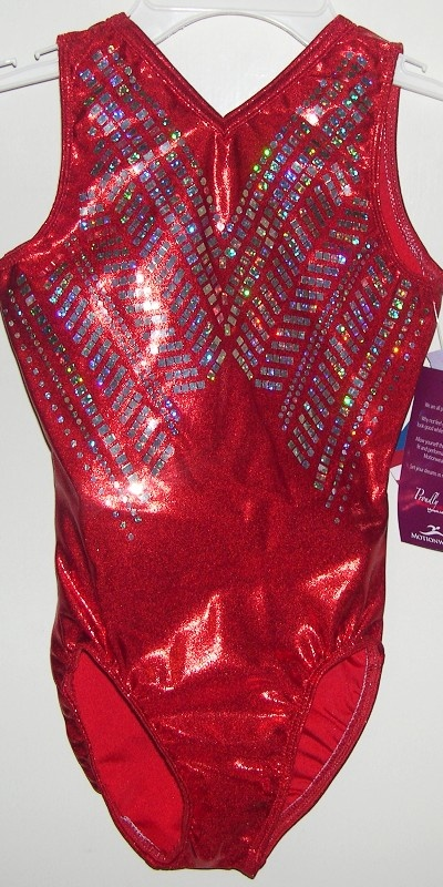 1483-281 Commemorative Team Gold Medal Leotard! London Olympic Red Shine On hologram tank leotard with huge holographic spangles sequinz design. Free scrunchie!