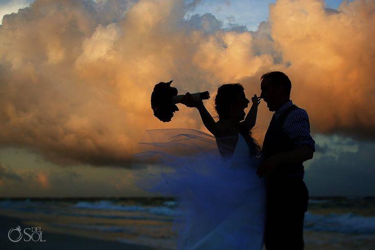 Bride and groom beach wedding Akiin Beach Club Tulum