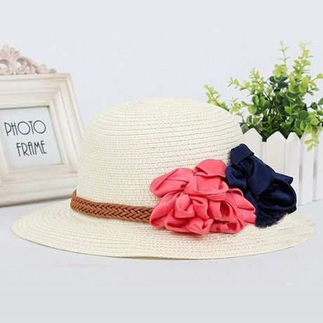 Women's Floral-Accent Leather Band Summer Beach Hat 6 Colors