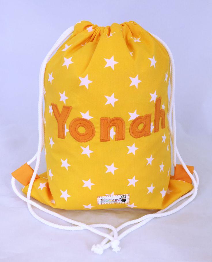 Yellow Star Personalised PE Bag, Drawstring Backpack, Named Bag, School Bag, Swim Bag, Dancing Bag, Sleepover Bag, Nursery bag, Backpack Bag by littlemooandroo on Etsy https://www.etsy.com/uk/listing/546219768/yellow-star-personalised-pe-bag
