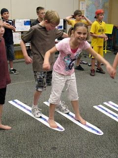 Cross country skiing Olympic game - could easily be adapted with many types of content to make a fun indoor recess game