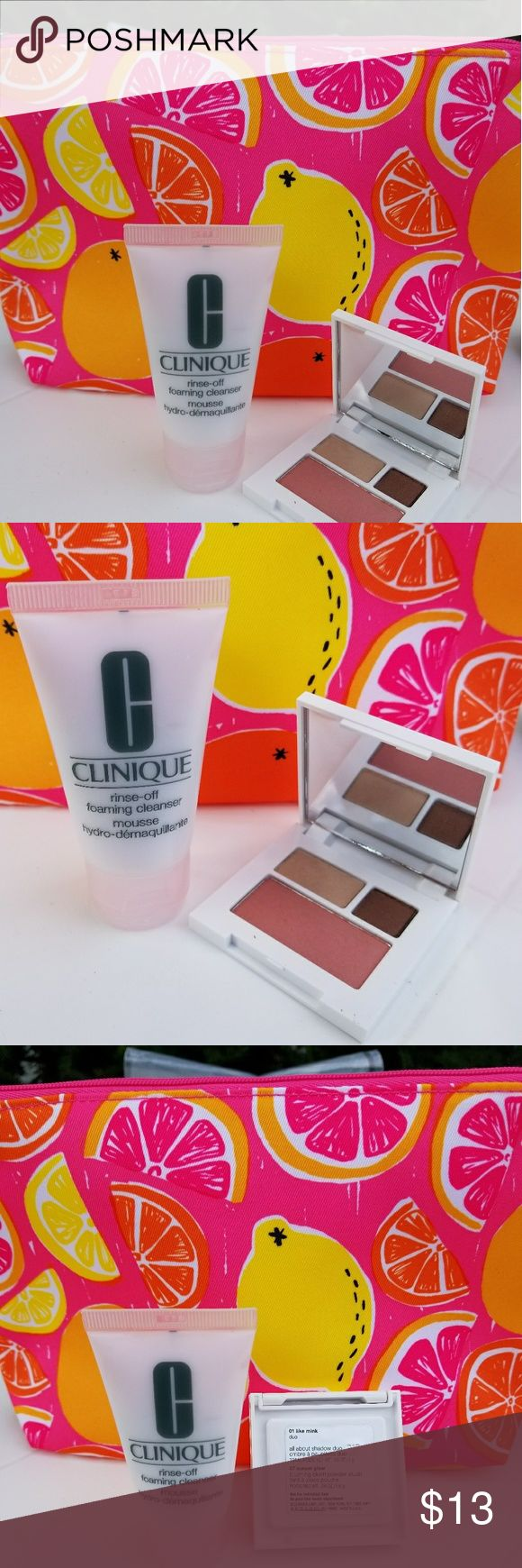 Clinique cosmetic bag 3 pcs New.  Authentic.   Clinique beautiful cosmetic bag,  includes  - eyeshadow duo, travel size.   - clinique rinse off foaming cleanser.  1 fl.oz.liq.  - pink citrus designed cosmetic bag.   Price is firm. Clinique Makeup Eyeshadow