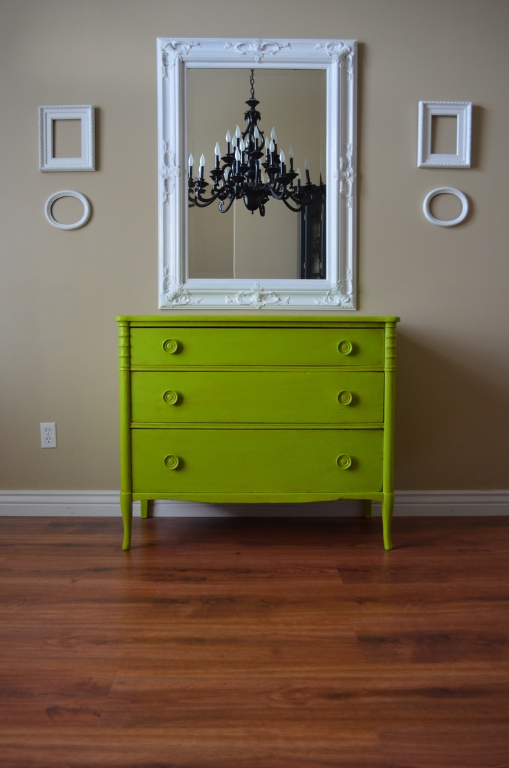 Lime Apple Chartreuse Green Dresser For Her Dining Room On Neutral Wall W