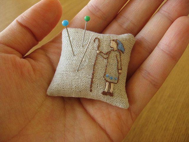 Shepherdess Pincushion by barefootshepherdess, via Flickr: Embroidery Pincushions, Pin Cushions, Crafty Things, Sewing Boxes, Pincushions Fun, Shepherdess Pincushions, Boxes Blog, Minis Pincushions, Wool Pincushions