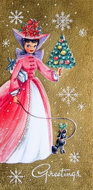 Vintage-Christmas-Card-UNUSED-Mid-Century-Girl-Fancy-Pink-Dress-Walking-Poodle | eBay