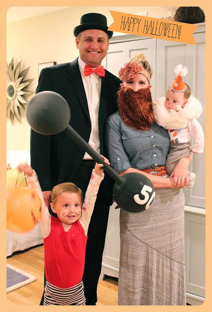 circus family costumes strongman circus ring leader bearde - Baby And Family Halloween Costumes