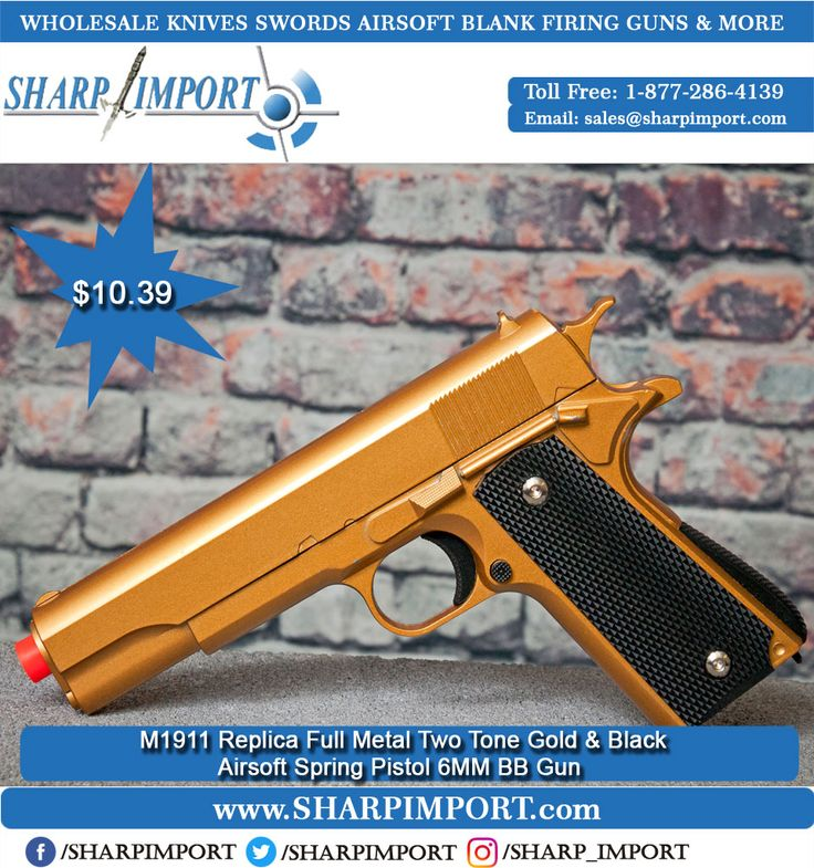 M1911 Replica Full Metal Two Tone Gold & Black Airsoft Spring Pistol 6MM BB Gun Features:  *Scale: 1:1 *Overall length 10 inches              *Life Like design *Velocity: Over 300 FPS *Capacity: 18 *Heavy Duty ABS and Metal Construction *Hop Up Pistol *Heavy In The Hand  Buy Now: 1-877-286-4139 . . #gunporn #gun #revolver  #guns  #pistol  #shoot #shooting #gunsdaily #gunsweekly #9mm #action  #shootingguns