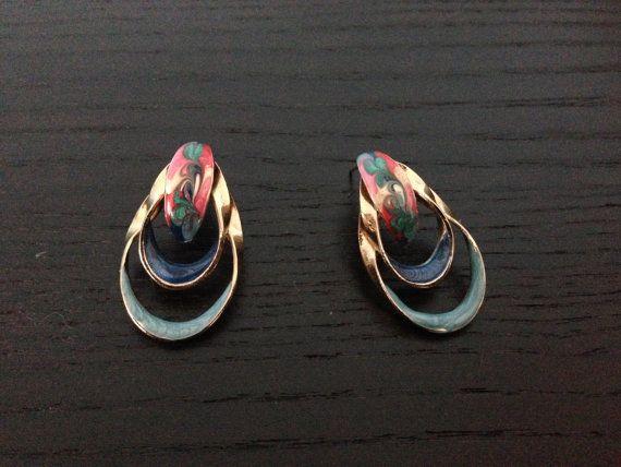 Multicolor  Drop Earrings/ 80s Vintage Earrings/ Multicolor Vintage Earrings on Etsy, $20.00