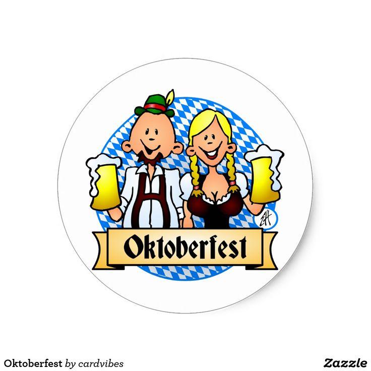 Oktoberfest Classic Round Sticker #Oktoberfest #sticker #Zazzle #Cardvibes #Tekenaartje #SOLD
