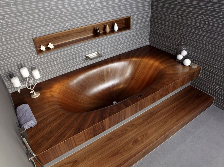 100 Amazing Luxury Bathrooms Ideas | Wood Barrel Bathtub: teak wood bathroom countertops and wooden glossy soaker tub in cherry stain with jets. ➤To see more Luxury Bathroom ideas visit us at www.luxurybathrooms.eu #luxurybathrooms #homedecorideas #bathroomideas @BathroomsLuxury