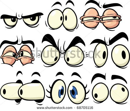 Funny cartoon eyes. All in separate layers for easy editing. - stock vector