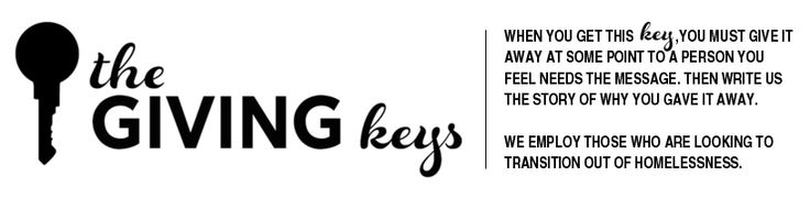 The Giving Keys- order a key with a word of encouragement on it; pass on to someone you think needs it and write your story