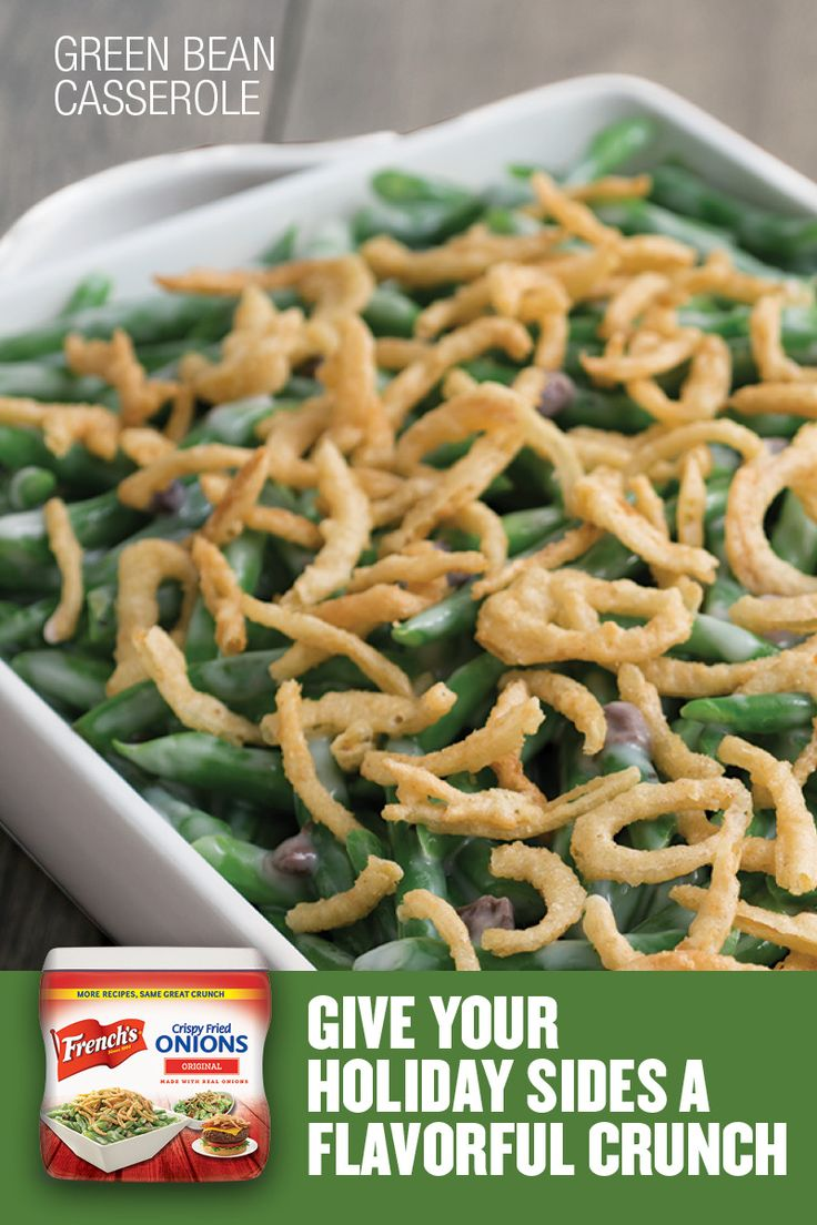 The essential holiday classic - French's Green Been Casserole. French's Crispy Fried Onions with green beans, cream of mushroom soup, milk, and pepper come together to make a simple but delicious casserole. Just five minutes of prep and 35 minutes in the oven, this crunchy side dish is a quick and delicious family favorite. Mix, bake, stir and top--it's that easy