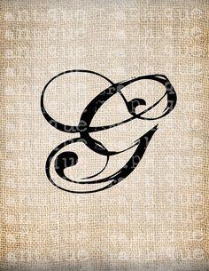 Antique Letter G Script Monogram Digital Download for Dictionary Pages, Papercrafts, Transfer, Pillows, etc.Burlap No 7521