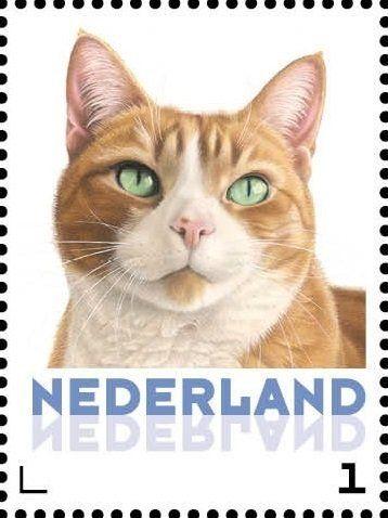 Stamp: Domestic Cat (Felis silvestris catus) (Netherlands - Personalized stamps) (Cats, Francine van Westering) Col:NL 2015-111