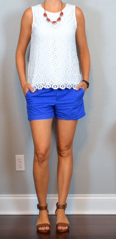 Love the white eyelet top and bright bottom and necklace.