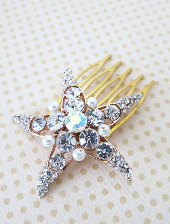 Rose Gold Wedding Starfish Hair Comb, Accessories, Rose Gold Bridal Hair Comb, Pink Gold, Crystal, Beach Nautical Weddings Comb - Starfish