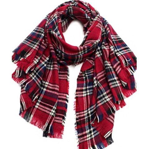 Blanket Scarf -Red - Leopard & Latte