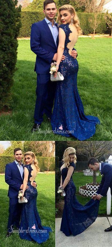 2016 prom dresses, mermaid long prom dresses, royal blue prom dresses, lace prom dresses with backless