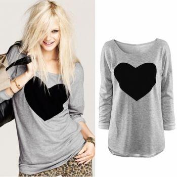 T-shirt de Moda de Nova Mulheres \ 's Coração Padrão manga comprida O Neck Tops