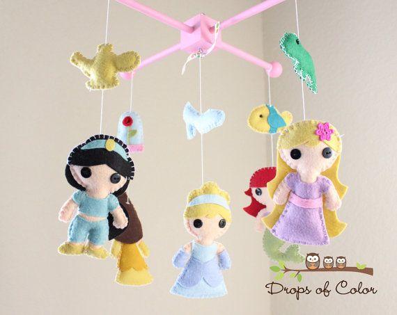 1000 images about disney princess nursery on pinterest for Princess crib mobile