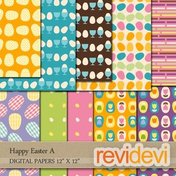 Digital scrapbook papers - Happy Easter A. Patterned paper for background. Easter theme in soft pastel colors.  Great for all grades!  Teacher seller toolkit resource for creating TpT materials.  These bright digital papers are great for teachers and educators for creating their school and classroom projects such as for background for bulletin, announcement, printable learning worksheet, craft materials, cards, paper goods, and for more educational and fun projects.