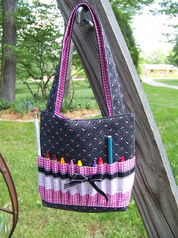 Childs Crayon Tote Bag pdf pattern or Bible cover by civilwarlady, $4.99