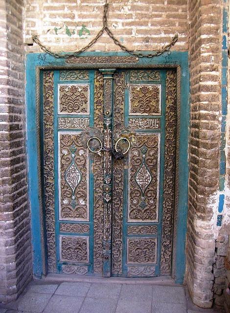 Mosque door in Abyaneh, Iran.