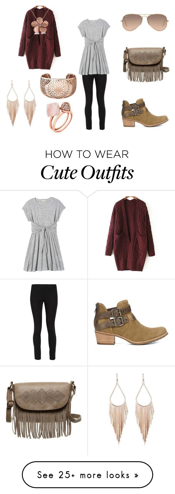 """Cute Winter Outfit"" by holly32196 on Polyvore featuring The Row, Rebecca Taylor, WithChic, UGG Australia, T-shirt & Jeans, Allurez, Links of London, Ray-Ban, Michael Kors and cute"