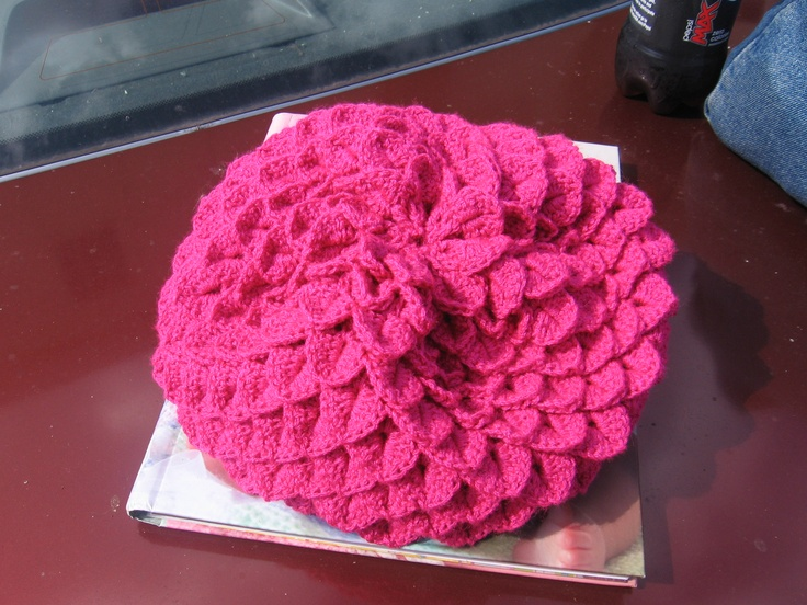 A crocodile stitch beret that I made for a client......NEVER again!!!!  Lol!