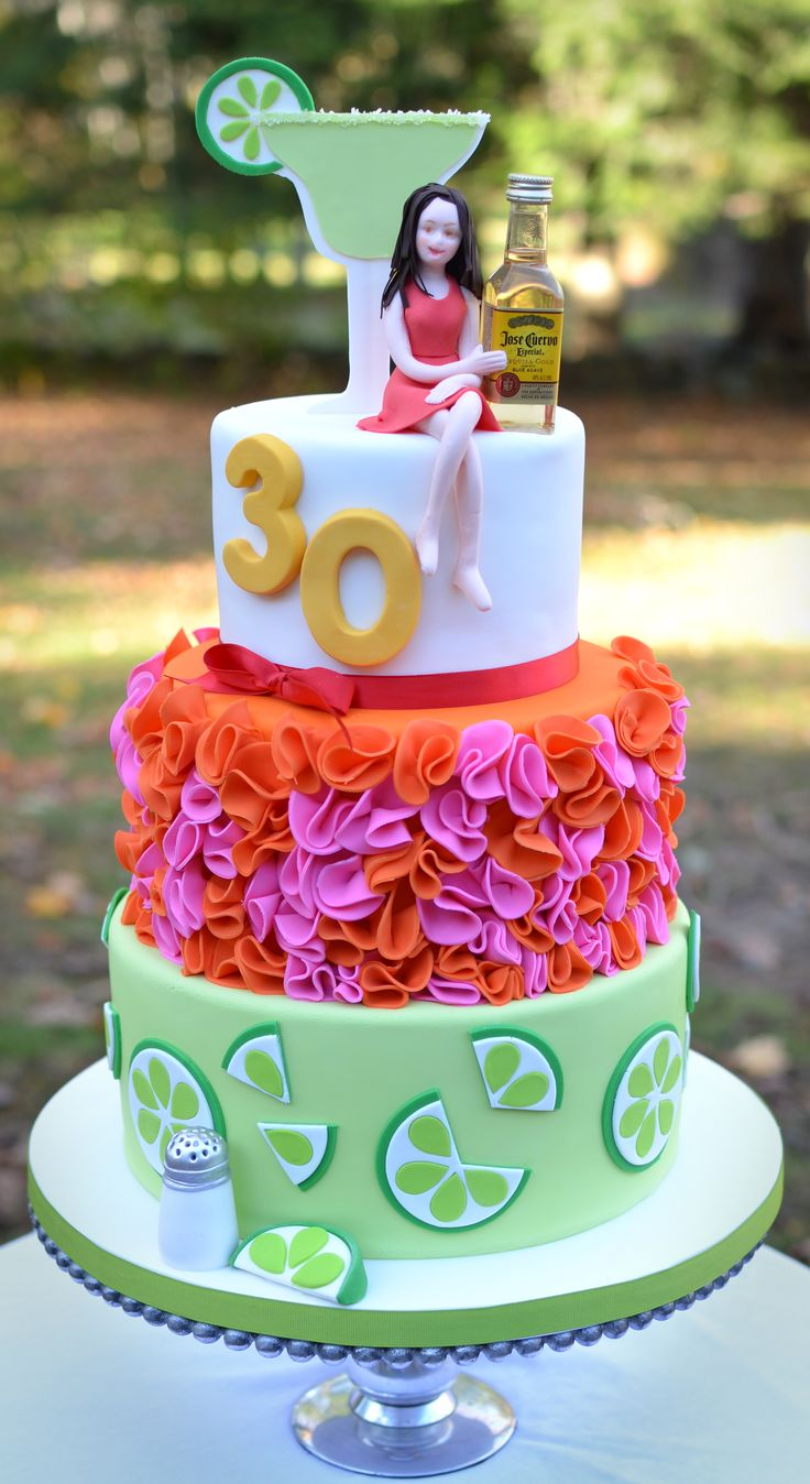 Margarita and tequila themed 30th birthday cake. 30th Birthday Cakes! // Pretty Perfect Living!