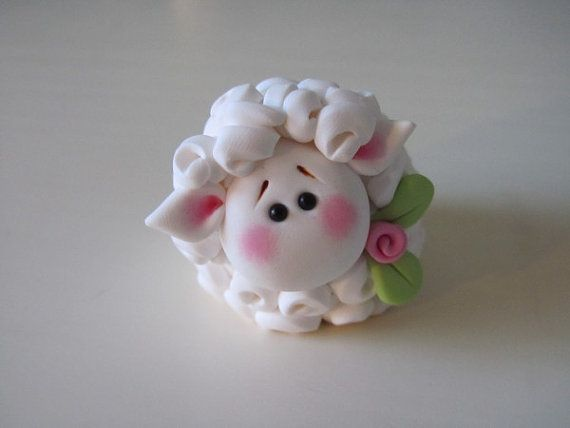 Polymer Clay Easter Lamb Figurine by ClayPeeps on Etsy, $11.50