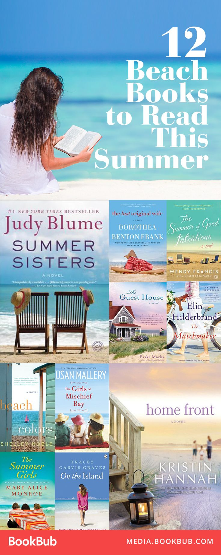 12 beach read books for your summer reading list. These are great book choices for women, too!