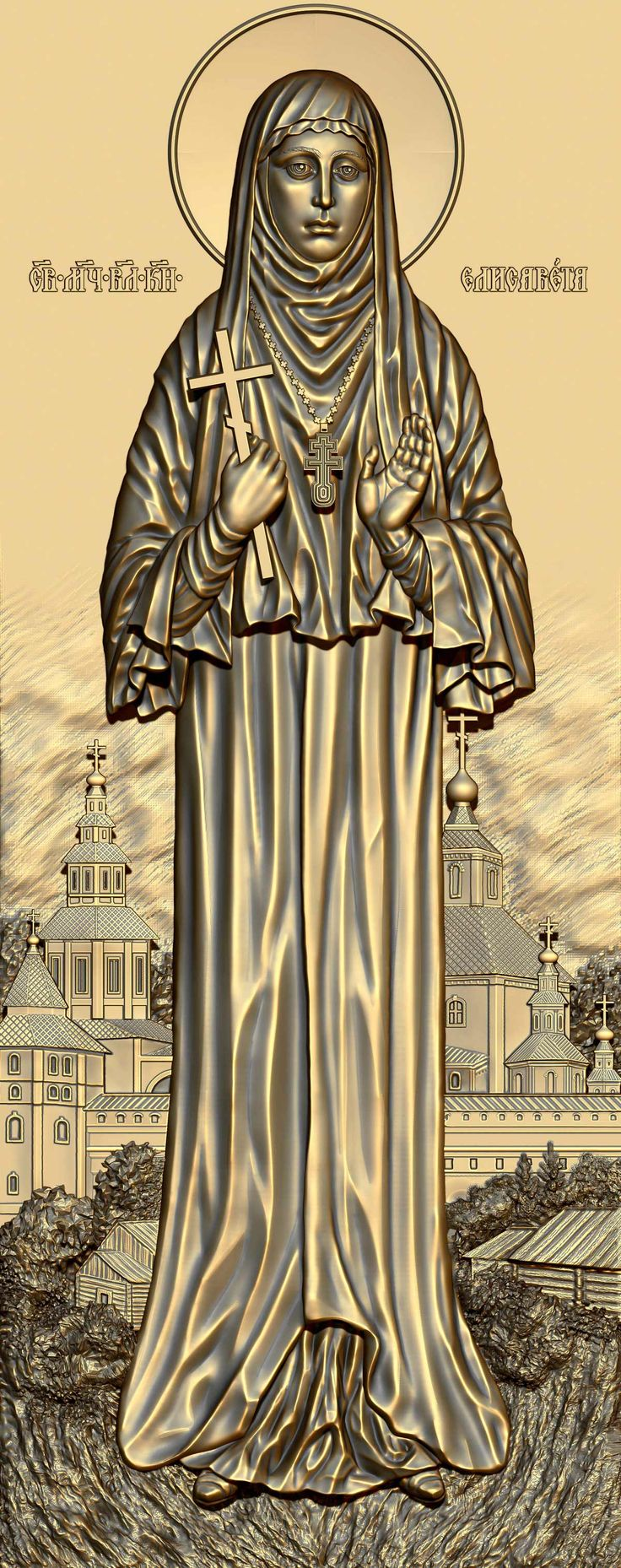Holy Martyr Russian Grand Duchess Elizabeth Feodorovna. 3D model for CNC milling machine. Simulation programs: MoI, ArtCam, ZBrush. Private order.