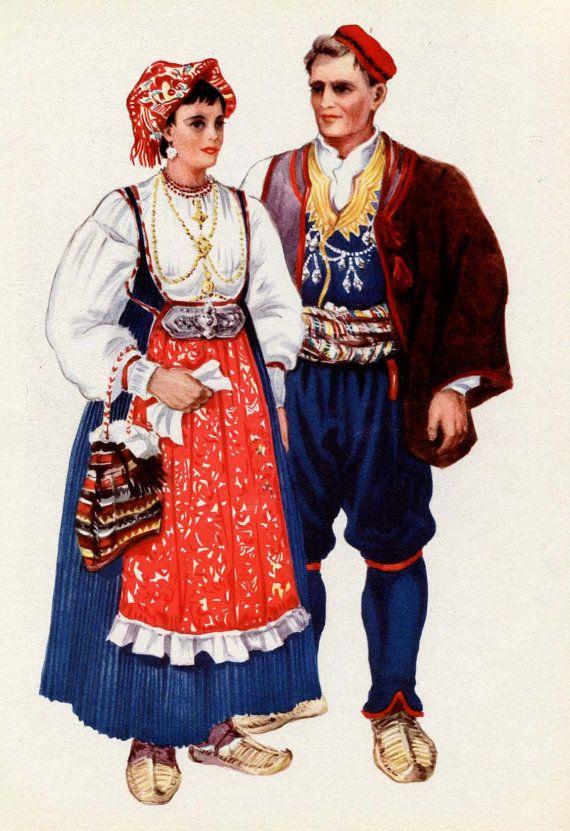 Dalmatia Croatia Podgora National Costume - V Kirin - Folk Ethnic Dress
