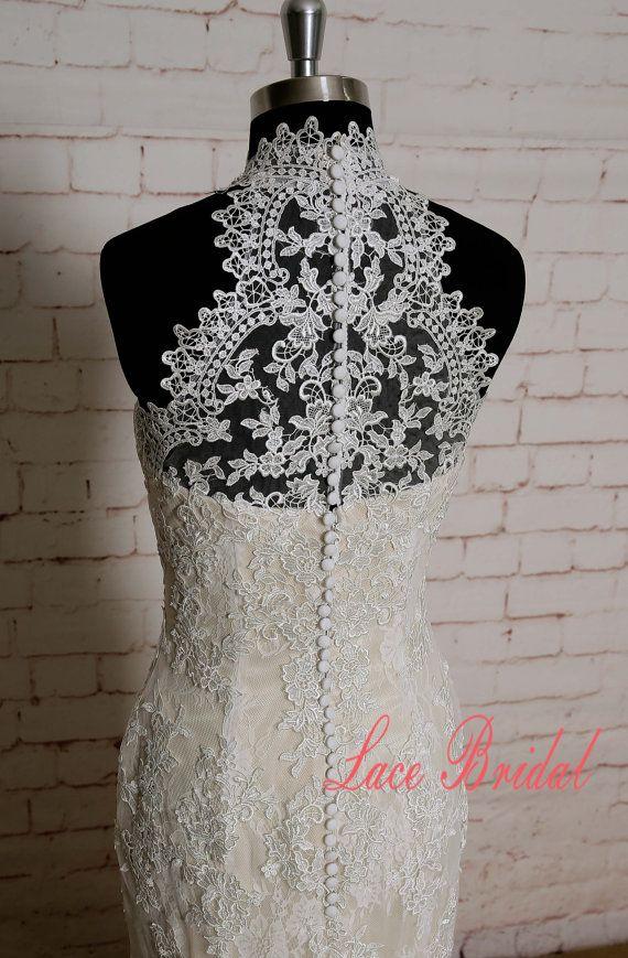 Especial Vestido de novia cuello alto cuello vaina por LaceBridal