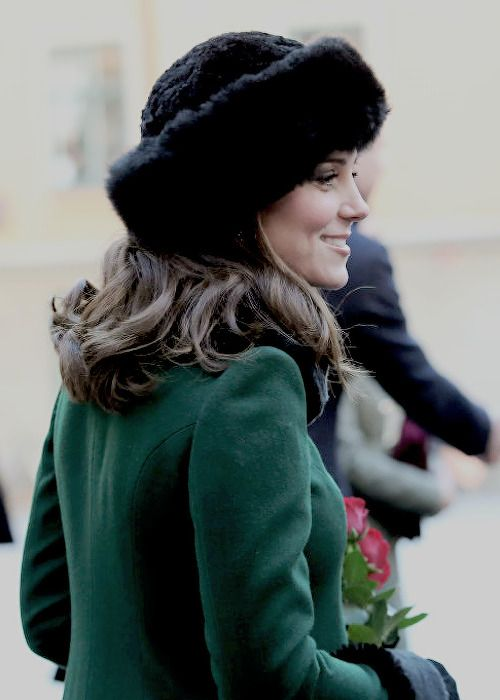 January 30, 2018 ~ HRH Catherine, Duchess of Cambridge looks lovely as she walks through the cobbled streets of Stockholm, Sweden on day 1 of the Cambridge's tour of Sweden and Norway.