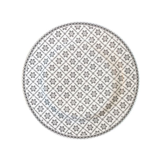 Talerz Alba Pale Grey 20,5 cm ,shabby chic, styl skandynawski