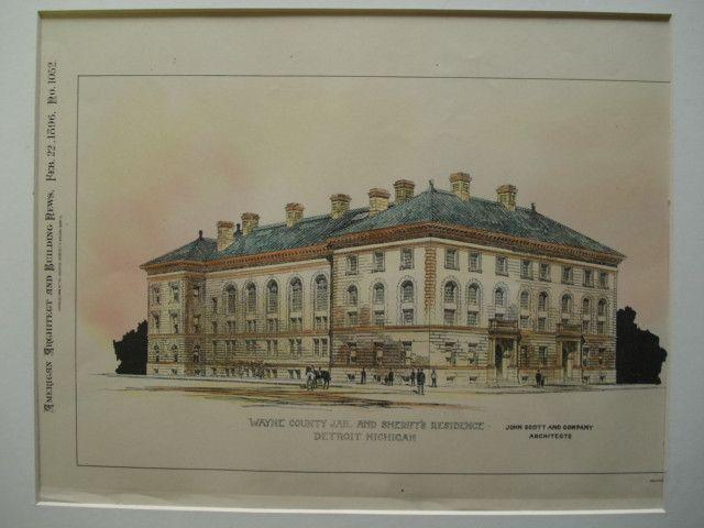 Wayne County Jail and Sheriff's Residence , Detroit, MI, 1896, John Scott and Company