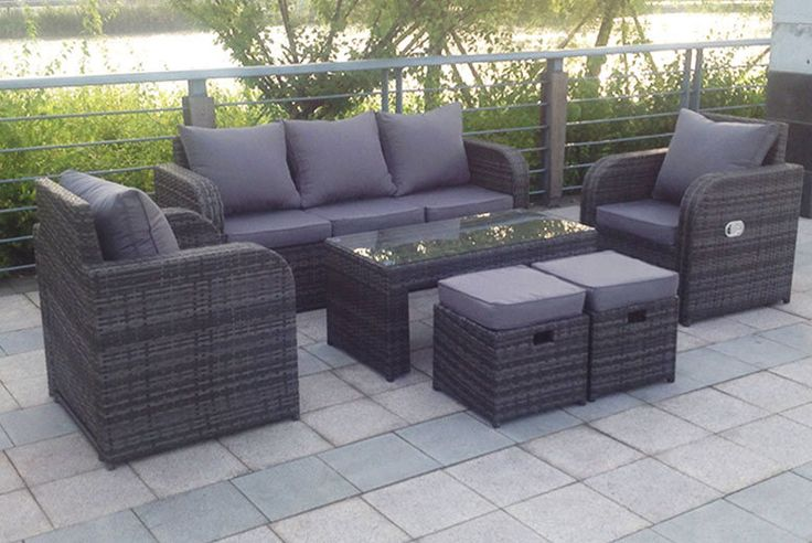 Rattan Recliner Lounge Set - 3 Colours! deal in Sheds & Garden Furniture Get a rattan recliner lounge set.  Choose from either black, grey or brown.  Includes a cosy three-seater sofa and two fab reclining armchairs.  And two footstools and a coffee table.  Stools can be stored under the table.  Includes cushions for added comfort! BUY NOW for just £499.99