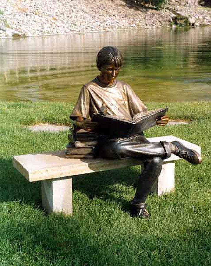 """Life's Lessons"" Life-Size Bronze Sculpture by George Lundeen:"