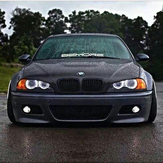 BMW E46 M3 grey slammed rain