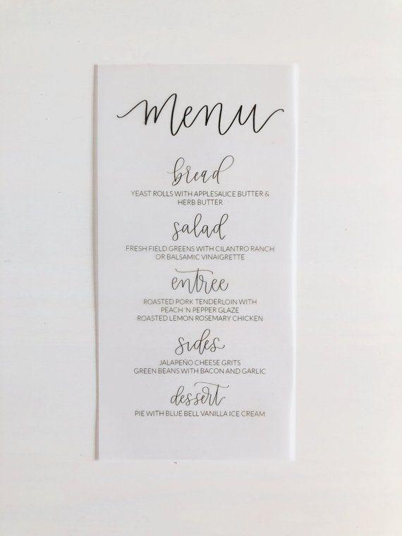 369a2193582e9 Vellum Menu Card - Printed Menu Card - Semi Custom Menu Card ...