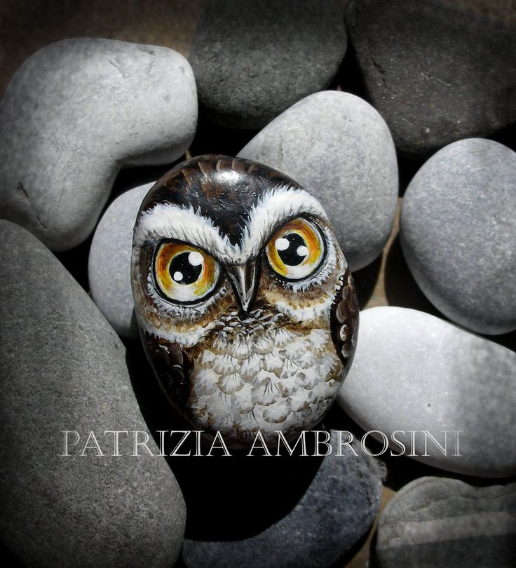 Owl No.5 Handpainted rock painting painted stone miniature painted rock. $24.00, via Etsy.