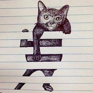 Kittens will climb anything, even this sheet of paper! #CatArt #Art  _______________________________________ cred: @milanova_karinka