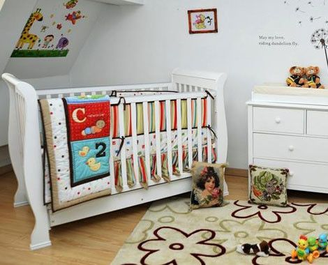 Wooden Sleigh Baby Cot With Mattress