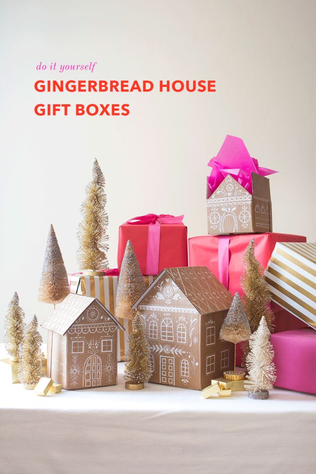 DIY Gingerbread House Gift Boxes. Upcycle unused cardboard boxes into festive, holiday gift boxes using Painters paint markers and hot glue!