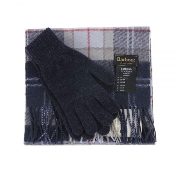Barbour Scarf and Glove Gift Set Navy Tartan