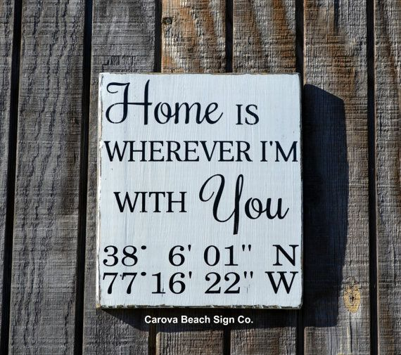 Custom Wood Sign Couples Nautical Wedding Gift Nautical Latitude Longitude GPS Anniversary Present Rustic Home Is Wherever I'm With You